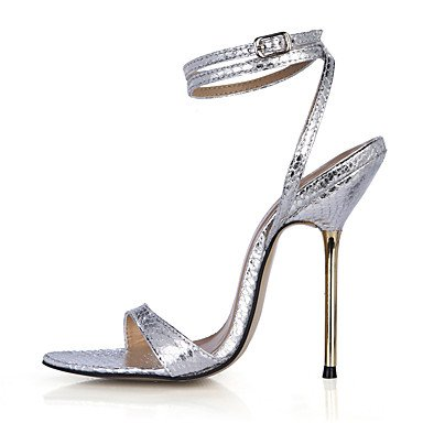 LvYuan Damen-Sandalen-Kleid Party & Festivität-PU-Stöckelabsatz-Knöchelriemen-Schwarz Gold Silber Silver