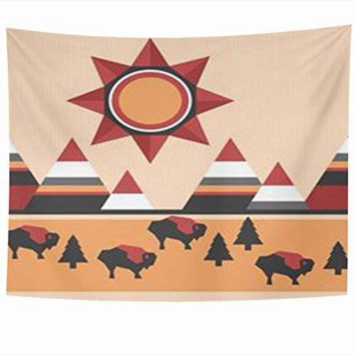 Wall Hanging Tapestries 60 x 50 Inches Colorful Buffalo Pattern Native Indian Style Landscape Mountains Buffaloes Sun Orange American Decor Tapestry for Home Bedroom Living Room Dorm -