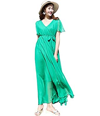 bf74e778f68 Image Unavailable. Image not available for. Colour  Medeshe Women s Chiffon  Lightweight Beach Bridesmaid Maxi Dress Sundress ...