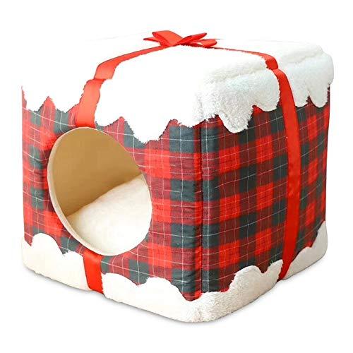 WLDOCA Cuccia Gatto Cani Letto Nicchia in Pile Morbido Caldo Gatto Caverna Igloo con Cuscino Lavabile, Rosso,Christmasred