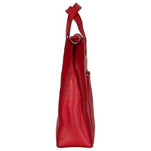 manbefair FAIR TRADE Öko-Leder Shopper Jane, Schultertasche, Einkaufsshopper, Tragetasche, Henkeltasche, Umhängetasche 35x35x11 cm (B x H x T) Rot