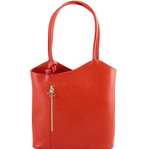 Tuscany Leather Patty - Borsa donna convertibile a zaino in pelle Saffiano Blu scuro Zaini in pelle Rosso