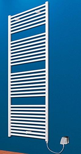 Der Renovierungsprofi Handtuchwärmer Toskana, elektrisch mit Heizstab, 153x60 cm, alpin-weiß, Heizpatrone mit Spiral-Kabel und Schuko-Stecker, Handtuchhalter-Funktion