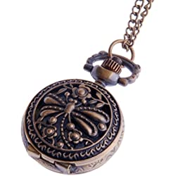 Womens Pendant Pocket Watch Quartz With Chain Small Face White Dial Arabic Numerals Vintage Dragonfly Design - PW-59
