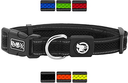DDOXX Hundehalsband Air Mesh reflektierend gepolstert verstellbar | viele Farben & Größen | für kleine & große Hunde | Halsband Hund Katze Welpe | Schwarz, S -