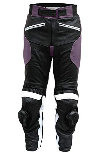 German Wear Damen Motorradhose Motorrad Biker Racing Lederhose Rindsleder Schwarz/Lila, Größe:M