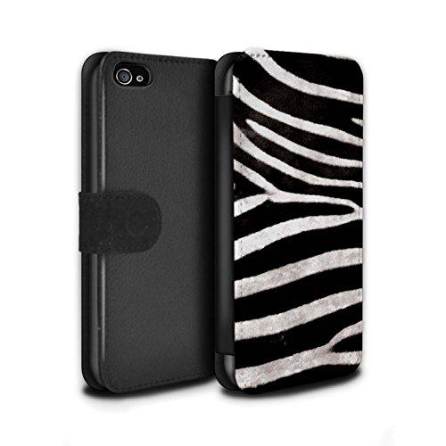 Stuff4 Coque/Etui/Housse Cuir PU Case/Cover pour Apple iPhone 4/4S / Pack 5pcs Design / Zèbre animale Peau/Motif Collection Noir/Blanc