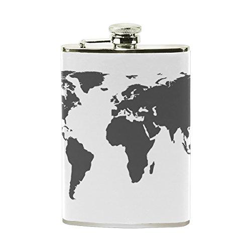 Welt-kunst-karte (cpyang Abstrakte Kunst Welt Karte Foto Custom tragbar 8Oz Edelstahl Schnabelkanne Pocket Flachmann Whisky Wein Topf Whisky Stoup)