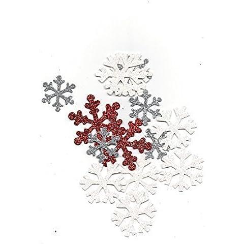 Snowflake Confetti, Red & White Metallic Confetti