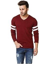 M Style V-Neck T-shirt Full Sleeve T-shirt Cotton T-shirt For Men's (Maroon)