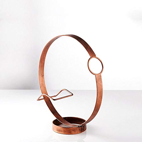 Kreative Wein Rack/Ornamente/Persönlichkeit Runde Wein Rack/Wein Kabinett Dekoration/Home Bar Restaurant Dekor, Bronze 24,5 * 26,5 * 9,5 cm -