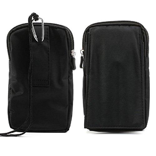 DFV mobile - Multi-functional Vertical Stripes Pouch Bag Case Zipper Closing Carabiner for =>                     APPLE IPHONE 4S > Black (16 x 9.5 cm) BLACK XXL (19 X 10.5 cm)