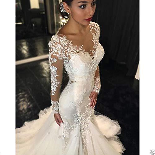 JYL Brautkleid Brautkleid Brautjungfer Kleid häkeln Spitze Oben eine Schulter doppelte Spitze Prinzessin Kleid bodenlangen Spitze Meerjungfrau reines Weiß/US: 2 (S)
