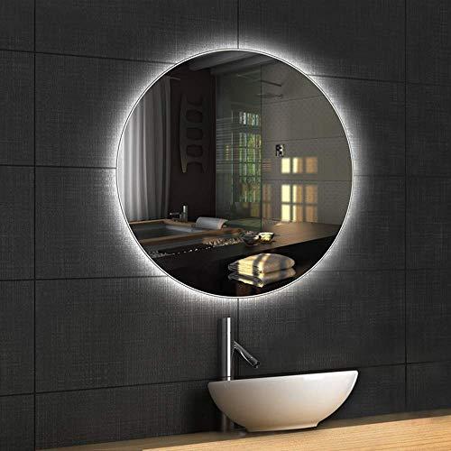 Mirror Espejo De Baño LED Pared Redonda Sin Marco