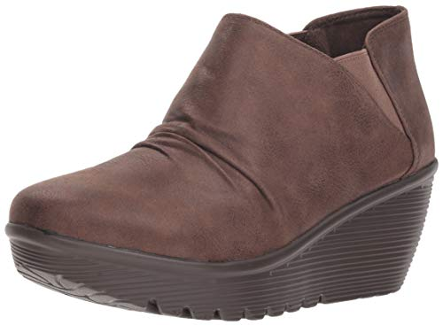 Skechers Women's Parallel-Curtail-Twin Gore Ruched Bootie Ankle Boot, Chocolate, 11 M US