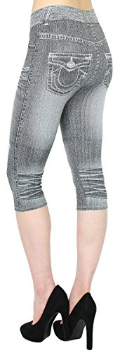 Damen Capri Jeggings in Jeans Optik mit Waschung – verschiedene Farben - 2