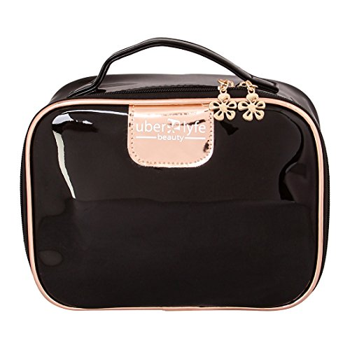 UberLyfe Travel Cosmetic Pouch Makeup Pouch Perfect for Carrying Makeup kit / Makeup/ Lip pencils/ Makeup Brushes / Cosmetics Pouch for Women & Girls (PU-1693-BKGDN-BG)