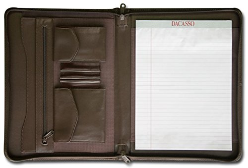 dacasso Leder Enhanced umlaufendem Reißverschluss Portfolio, Schokolade Braun (Braun Portfolio Reißverschluss Leder)