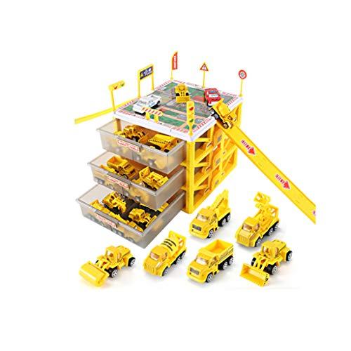 Spielzeug Kinder Auto Spielzeug Legierung Feuer Anzug Spielzeug 3 Schicht Garage + 6 Feuerwehrauto (Farbe : Gelb) ()