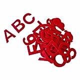 Alfabeto letras autoadhesivas de fieltro acrílico, aprox. 5 cm, rojo - kit de 80 piezas