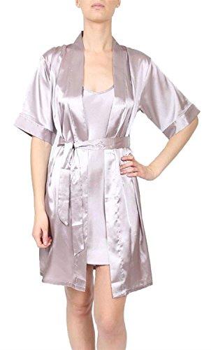 Neu Damen Kurze Hülse Inner Leibchen Lingerie Nightwear Nachtwäsche Kleid 36-46 Silver