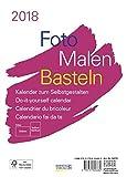Foto-Malen-Basteln Bastelkalender A5 weiß 2018: Fotokalender zum Selbstgestalten. Aufstellbarer do-it-yourself Kalender mit festem Fotokarton.