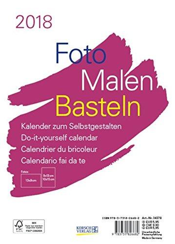 astelkalender A5 weiß 2018: Fotokalender zum Selbstgestalten. Aufstellbarer do-it-yourself Kalender mit festem Fotokarton. (Foto-tisch)
