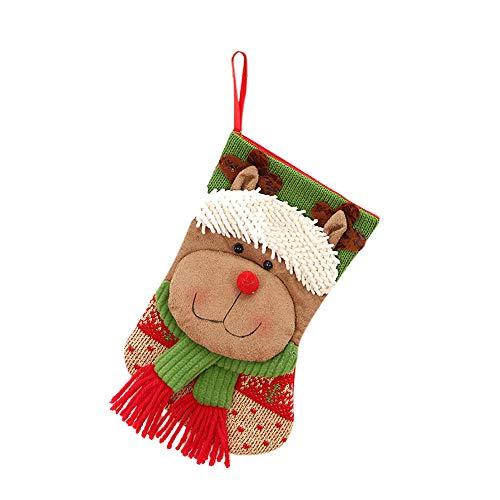 Yearnly Weihnachten Strumpf Beutel Weihnachtsmann und Schneemann und Elk Weihnachtsstrümpfe Weihnachtssocke Socken zum Befüllen und Aufhängen,Weihnachtsbaum-Dekoration 22 * 13 cm -