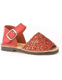 Sandalias Menorquinas en Glitter 1ª Calzadura, Todo Piel mod.199. Calzado infantil Made