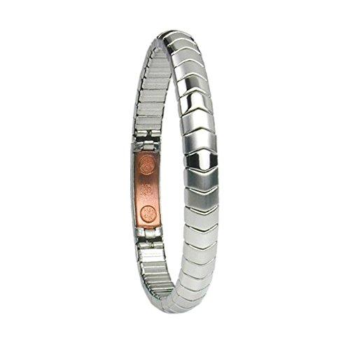 Flexibles Magnetarmband Energetix 4you 439 Cu + Kupfer silber matt und poliert Magnetix Flex Energiearmband Breite 8 mm im Schmuckpouch M