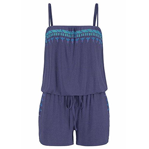 Marine Cheerleader Blau Kostüm - ESAILQ Damen Ferien-BeiläUfiger Minispielplatz-Damen-Overall-Sommer-Strand-Spielanzug(XX-Large,Marine)
