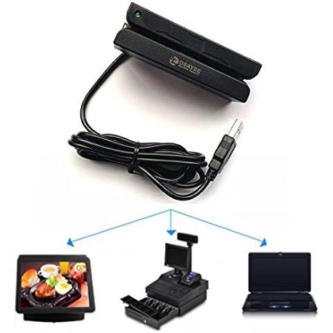 OSAYDE ® MSR90 Lector de tarjetas de banda magnética de crédito USB 3 Pistas Mini Mag Hi-Co