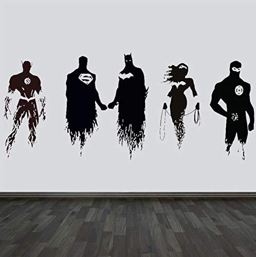 r Film Justice League Aufkleber Wandkunst Aufkleber Auto Comic Vinyl Removable Home Decor Diy Wandbild 56 * 130 Cm ()