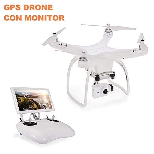 UPAIR One Drone GPS, FPV drone senza spazzole con fotocamera da 2,7 K HD e monitor da 7 pollici, trasmissione video in vivo da 5,8 G con mantenimento di posizione, modalità senza testa