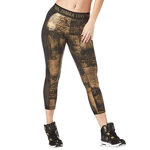 Zumba Fitness Damen Women's Shaping Capri Workout Leggings with Fashion Print Capris, Black B2B, L -