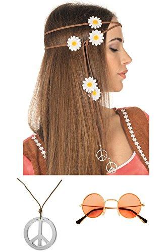 (Hippie Kostüm Mädels Zubehör Set (Orange))
