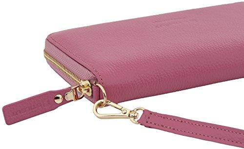 StilGut Smart Wallet in pelle - elegante clutch, portafoglio, custodia per smartphone e borsa a tracolla, Blu Scuro Nappa pink