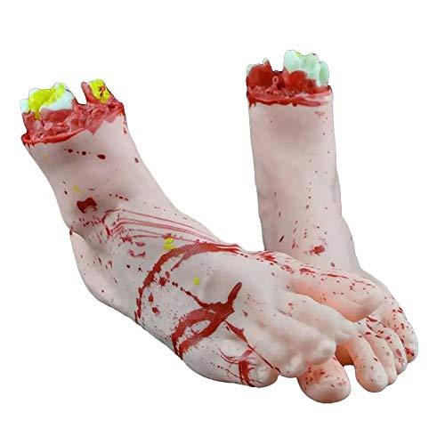 PowerBH 1 Paar Halloween Realistische Silikonprothese Gebrochene Hand Gebrochener Fuß Dekoration Spielzeug Unheimlich Blutig Ordentlich Requisiten Horror Party Dekoration (Dies Ist Halloween Klassischer Horror)