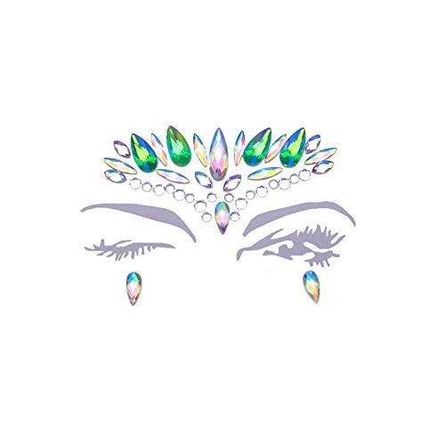 NICOLE DIARY Crystal Icon Gesicht Edelsteine Mermaid Eyes Juwel Kopfstück temporäre Tattoos Glitter Bindi Rave Böhmen Tribal Style Festival Verschönerung für Körper Schönheit Dekoration (1 - Tattoos Juwelen