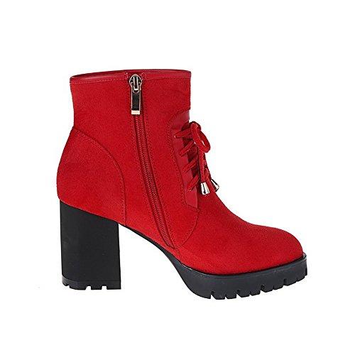 VogueZone009 Damen Schnüren Rund Zehe Hoher Absatz Stiefel mit Metalldekoration, Rot, 40