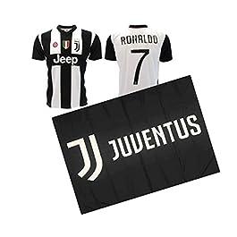 JUVE Maglia CRISTIANO RONALDO CR7 bianconera autorizzata ufficiale + bandiera juventus 140 x 100 cm nera