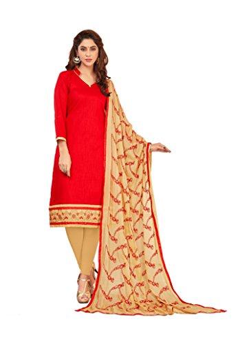 Priyavadhu Women's Slub Cotton straight Unstitched Salwar kameez Dress material (BLFNC03_Orange_Free Size)