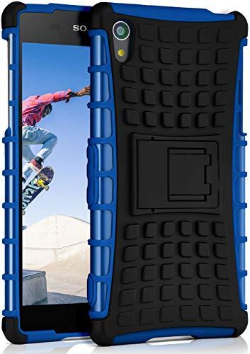 ONEFLOW® Outdoor Back-Cover aus Silikon + Kunststoff [Double-Layer] passend für Sony Xperia Z2 | Extrem widerstandsfähiger 360° Schutz, Blau