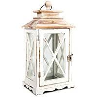 Carousel Home Distressed Whitewashed Wooden Hurricane Tealight Candle Storm Lantern