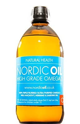 Nordic Oil High Strength 500ml Omega 3 Fish Oil. Taste Award Winning Lemon Flavoured and 3rd Party Tested