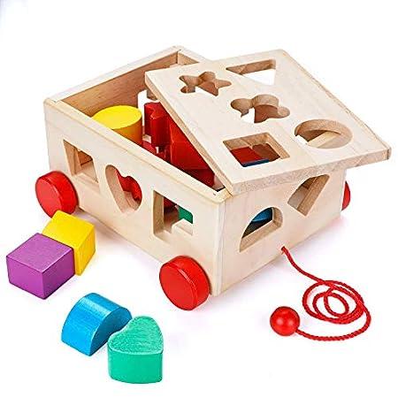Lalia Nachzieh Spielzeug Holz Kubus Steckspiel Motorik-Spielzeug perfekt für Kleinkinder ab 2 Jahre 16-teilig Würfel Holzspielzeug Jungen und Mädchen