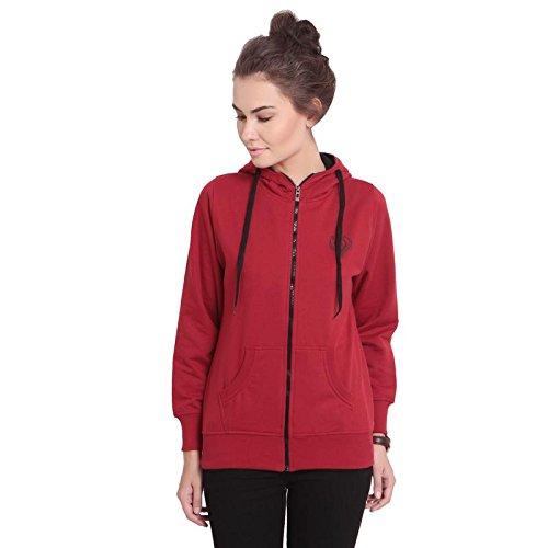 TAB91 Women's Red Solid Fleece Zipper Sweatshirt