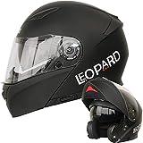 Leopard LEO-888 Klapphelm Integralhelm mit Doppelvisier #1 Mattschwarz XS (53-54cm) Motorradhelm Damen und Herren ECE Genehmigt