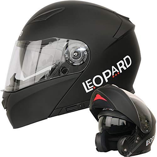 Leopard LEO-888 Doppelvisier Klapphelm Integralhelm (XS-XXL) Motorradhelm Mattschwarz XXL (63-64cm) Damen und Herren ECE Genehmigt