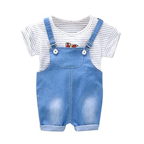 Kleidung Für Kinder Baby Kleidung Jungen Streifen Brief Tops T-Shirt Overall Jeans Hose Outfits Set 0-3 Jahre Pwtchenty Set - Denim Overall-set